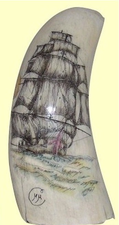 "Gallery Display""Clipper With Stunsails"" Scrimshaw Sperm Whales Tooth"