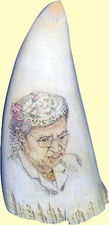 "Gallery Display""Quiet Courage - Rosa Parks"" ScrimshawSpermWhale'sTooth"