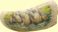 "Gallery Display ScrimshawSperm Whale Tooth""Friendship Sloop Regatta"""