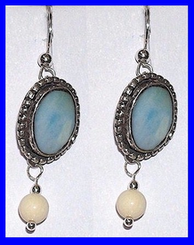 Tlingit Contemporary EarringsRare Blue Fossil Walrus and Mammoth Ivory Bead$49.50