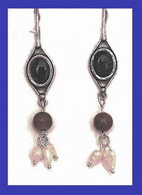 TlingitWoman Shaman'sEarrings I Opal, Mammoth Ivory and Freshwater Pearls$41.50
