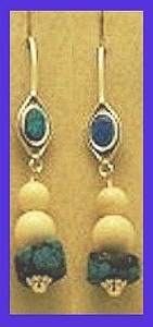 TlingitWoman Shaman'sEarrings IIIwithOpal, TurquoiseandMammoth Ivory Beads$62.50