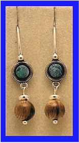 TlingitWoman Shaman'sEarrings IVOpal and Fossil Mammoth Bead$36.50