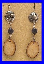 TlingitWoman Shaman'sEarrings VLapis and FossilWalrus Ivory$32.50