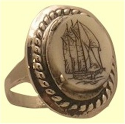 Traditional Lady's Crew RingSterling SIlverWithFossil Ivory