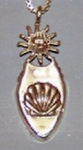 <b>Welcome Sun Amulet<br>Sterling Silver ot 14KT Gold and Fossil Ivory</b></font>
