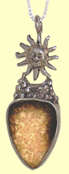 Welcome Sun AmuletSterling Silver ot 14KT Gold and Fossil Ivory