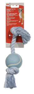 Dogit Blue Cotton Rope Bone w/Tennis Ball 12