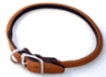 "Rolled Round Leather Dog Collar 5/8"" x 16"" Red"