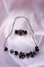 Steppin Out Dog Jewelry Silver Black Rhinestone Flower Necklace and Hair Clip