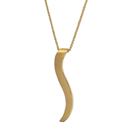 18k Gold Ogee Necklace in Wood Jewelry Box