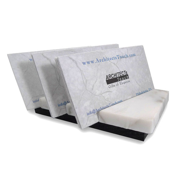 Elegant desk accessory of white marble holds business cards for Marble business card holder