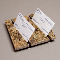 Double Business Card Holder In Natural Stone Burnt Sienna Granite