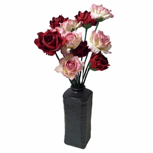 Dozen Paper Roses (Red and Pink)  in a Japanese Vase