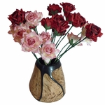 Dozen Pink Paper Roses and Dozen Red Paper Roses in a Carved Wood Vase