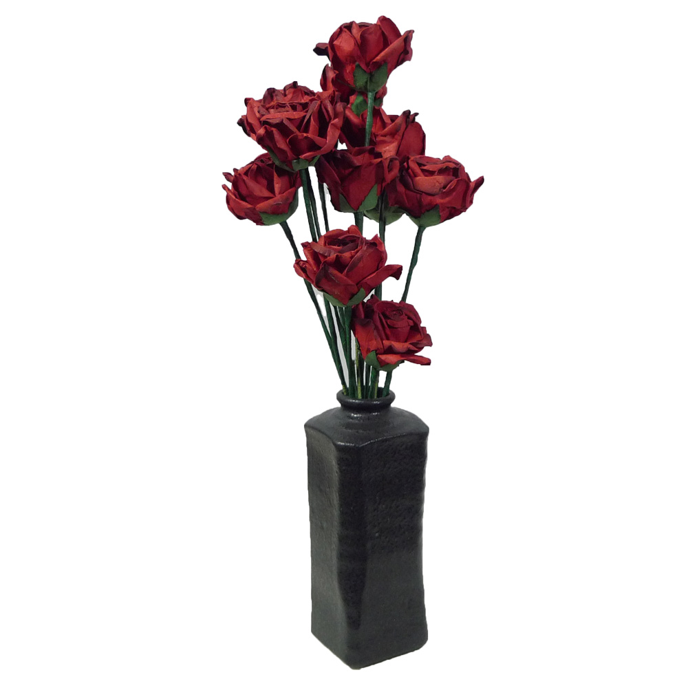 Dozen Red Paper Roses in a Black Ceramic Vase