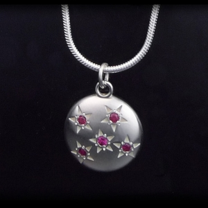 Five Ruby:  Starry Sky Necklace (Sterling Silver)