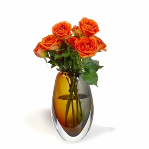 Glass Vase (Amber + Grey)
