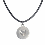 Melting Heart Pendant (Stainless Steel with Black Leather Cord)