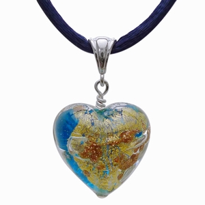 Murano Glass Heart (mix of gold, silver, brown, and blue)