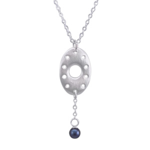 Open Oval Pendant (sterling silver) with One Midnight Blue Pearl
