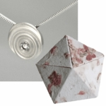 Paper Anniversary Diamond Droplet (Silver) in Origami Box