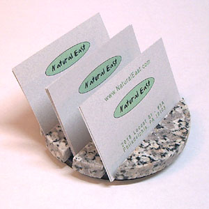 Round Business Card Holder (natural granite)