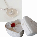 Silver Melting Heart Pendant in Heart Shaped Box