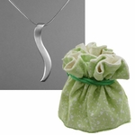 Silver Ogee Necklace in Cotton Gift Pouch