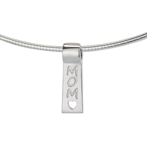 Mom with  Open Heart: sterling silver slide necklace