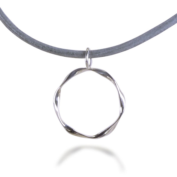 Triple Twist Necklace and Glasses Holder (sterling silver with Grey leather cord)