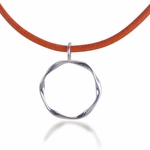 Triple Twist Glasses Holder (sterling silver with orange leather cord)