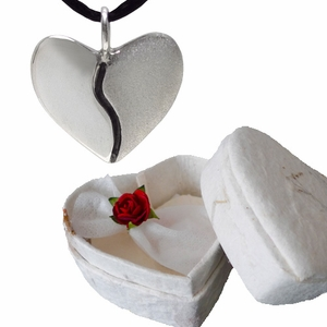 Silver Two-Tone Harmony Heart in Heart Shaped Box