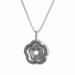 Solid Silver Rosette Pendant (with Silver Chain)