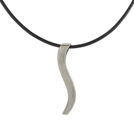 Stainless Steel Ogee Pendant (Black Cord)