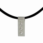 Three Diamond Silver Slide Necklace: 3rd Anniversary Gift