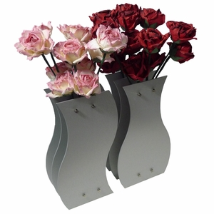 Two Dozen Paper Roses (Pink and Red) in a Yin-Yang Vase Set