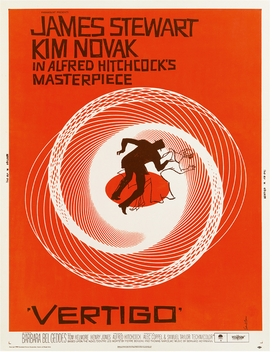 """Vertigo"" (1958) designed by American Saul Bass for Alfred Hitchcock, reproduced from '100 Movie Posters.'"