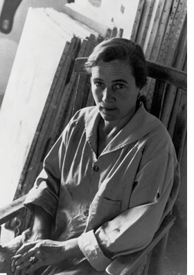 Portrait of Agnes Martin in her studio in Taos, New Mexico, c. 1954, is by Mildred Tolbert.