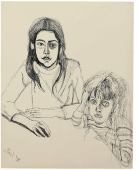 """Olivia and Elizabeth"" (1978) is reproduced from <I>Alice Neel: Drawings and Watercolors 1927-1978</I>."