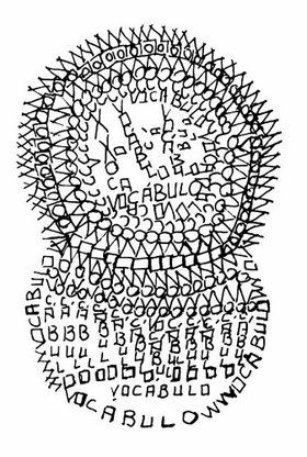 """vocábulo = vocable"" (1966), by Edgard Braga, is reproduced from <I>An Anthology of Concrete Poetry</I>."