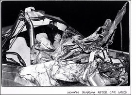 """Woman Laughing After Car Wreck"" (1989) is reproduced from <I>Andrew Savulich: The City</I>."