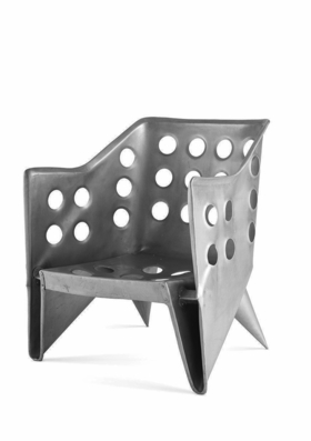 Untitled / Aluminium Chair by Gerrit Thomas Rietveld (c. 1942) is reproduced from 'Atlas of Furniture Design.'