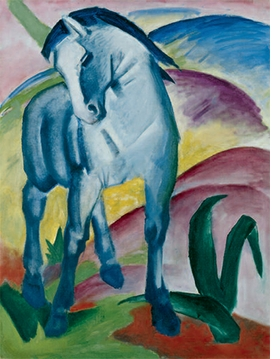 "Franz Marc, ""Blaues Pferd I"", 1911, is reproduced from <i> August Macke & Franz Marc: An Artist Friendship</i>."