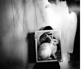 Lauren Semivan's <I>Black and White Rabbits</I> (2008) is reproduced from <I>Black Forest</I>.