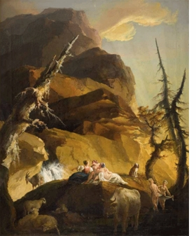 """""""Shepherdess and Bathers in Front of a Waterfall"""" (1770 is reproduced from <I>Caspar Wolf and the Aesthetic Conquest of Nature</I>."""