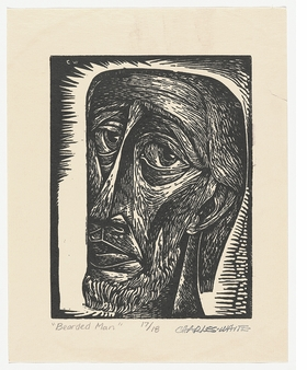 """Untitled (Bearded Man)"" (c. 1949) is reproduced from 'Charles White: Black Pope.'"