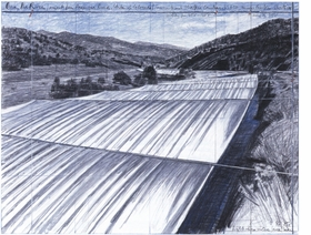 """Fabric panels suspended horizontally clear of and high above the water level will follow the configuration and width of the changing course of the river during a period of two consecutive weeks to be selected between mid-July and mid-August of any given year in the future, in 2012 at the earliest.""<p>Jonathan Henry describes Christo and Jeanne-Claude's Mastaba River project in <a href=""9788434311930.html"">Christo & Jeanne-Claude: The Mastaba / Over the River</a>, from which this preparatory image is repdoduced."