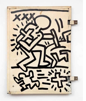 """Untitled (Cabinet Door for Joey Arias)"" (circa 1980) by Keith Haring is reproduced from 'Club 57: Film, Performance, and Art in the East Village, 1978–1983.'"