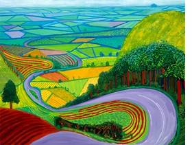"David Hockney, ""Garrowby Hill"", 1998, is reproduced from <i>Contemporary Art: MFA Highlights</i>."